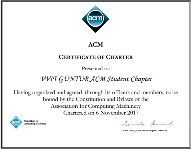 ACM Membership Certificate IT dept